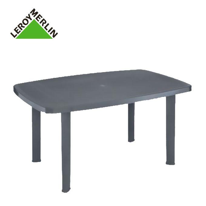 Table Gris Anthracite Rectangulaire En Plastique, Résistante - 137X85cm -  Garantie 1 An