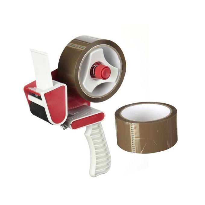 Dérouleur 2 Rouleaux Dadhésif Pour Emballage Multi Usages 50m X 48cm Marron