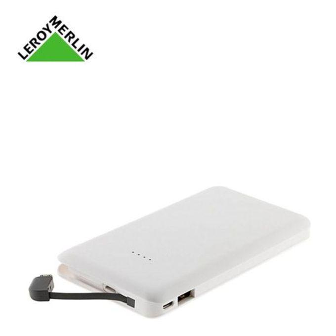 Power Bank Batterie De Secours Usb Avec Câble 10000mah 1a21a Blanc