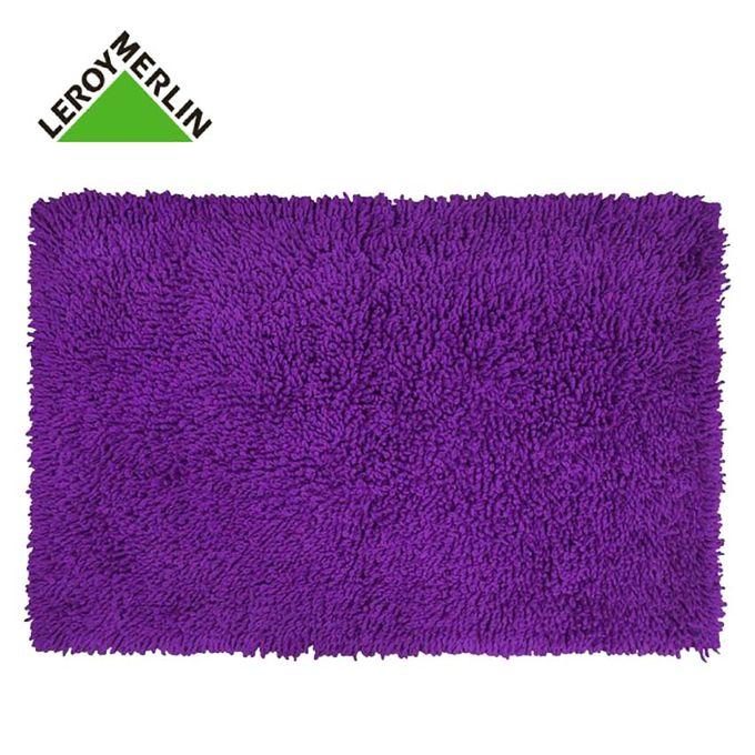 Tapis De Bain Violet - 80X50 Cm - Bouclettes - CRAZY - 100% Coton -  Garantie 1 An
