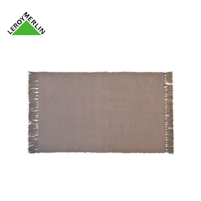 Tapis à Franges Taupe 50x80 Cm 100 Coton Descente De Lit Garantie 1 An