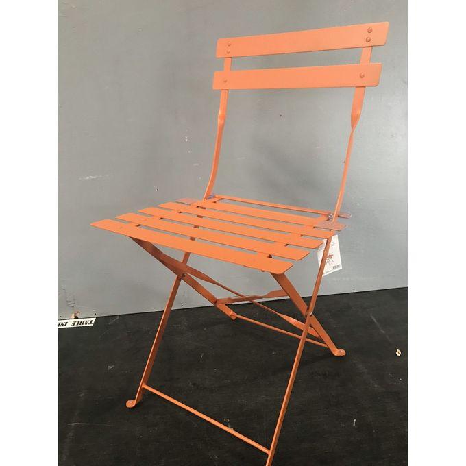 Chaise Pliante De Jardin Métal Acier à Lattes Orange Flore Garantie 1 An