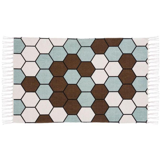 Tapis Motif Hexagonal Taupe 60x90 Cm 100 Coton Descente De Lit Garantie 1 An
