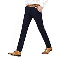 95c5c6e92b768 Pantalon Décontracté Chino Slim En Coton Pour Hommes - Bleu
