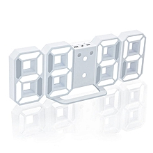 8 shaped usb digital table clocks wall clock led time display creative watches 24&12-hour display alarm snooze home decoration(white a)