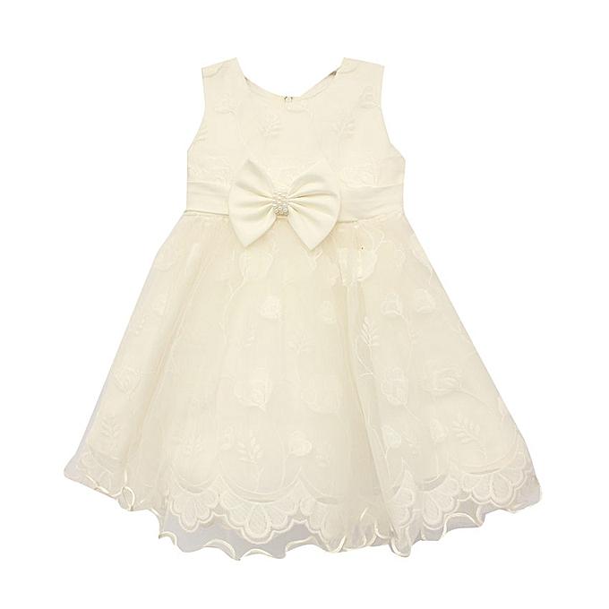 cd1edd50a96 No brand Robe Enfant Détail Dentelle – Blanc - Prix pas cher