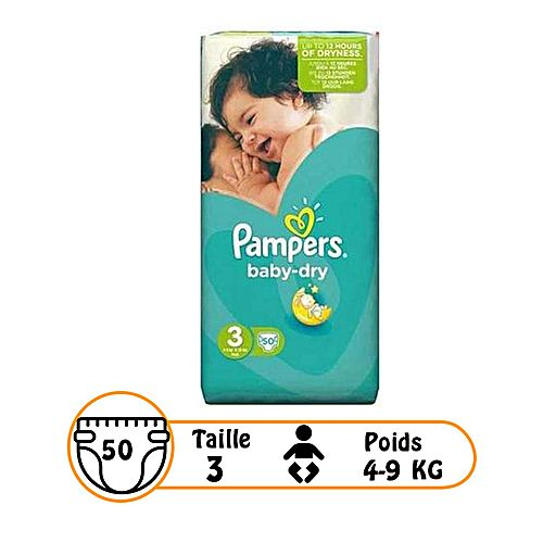 Couches b b baby dry midi taille 3 4 9 kg 50 - Couches pampers baby dry taille 3 ...