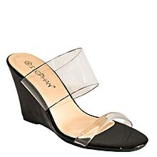 fe108c1f2fe7 Sandales Compensées En Simili Cuir à Lanières Transparents - Noir