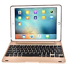 f19b for ipad 9.7 (2018) & ipad air & air 2 & ipad pro 9.7 & ipad 9.7 inch (2017) ultra-thin abs horizontal flip case + bluetooth keyboard(gold)