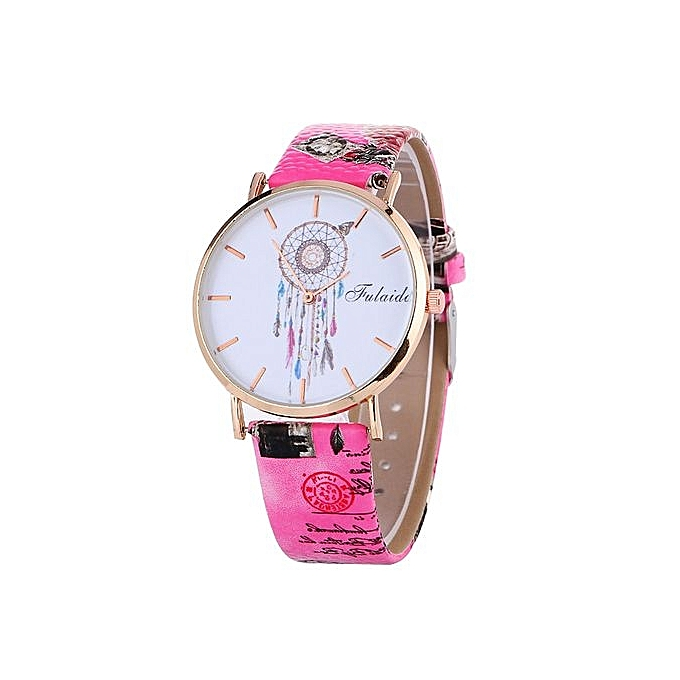 FULAIDA Africashop Watch Fulaida-Dreamcatcher Pattern Fashion Women Colored PU Leather Watch -Hot Pink au Côte d'Ivoire à prix pas cher  |  Côte d'Ivoire