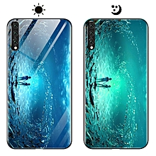 "huawei p20 pro case, fashion luminous [noctilucent] tempered glass back cover with soft silicone rubber tpu bumper hybrid protection case for huawei p20 pro 6.10"" (blue)"