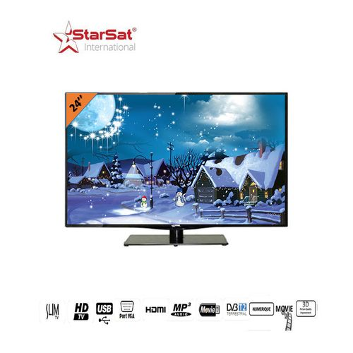 star sat tv led 24 pouces ultra slim hd noir garantie 24 mois acheter en ligne. Black Bedroom Furniture Sets. Home Design Ideas
