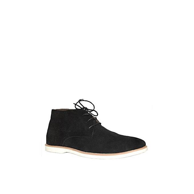 856015e20 Chaussures Hommes En Derbies Montantes En Daim à Lacets - Noir