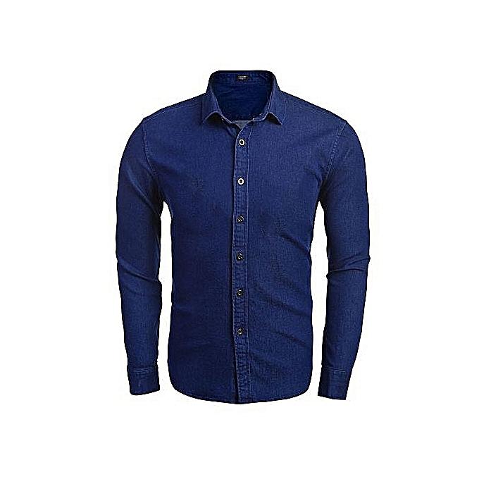 Sans marque Chemise Slim En Jeans – Bleu au Côte d'Ivoire à prix pas cher     Côte d'Ivoire